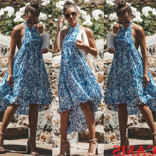 women halter floral backless sundress summer beach