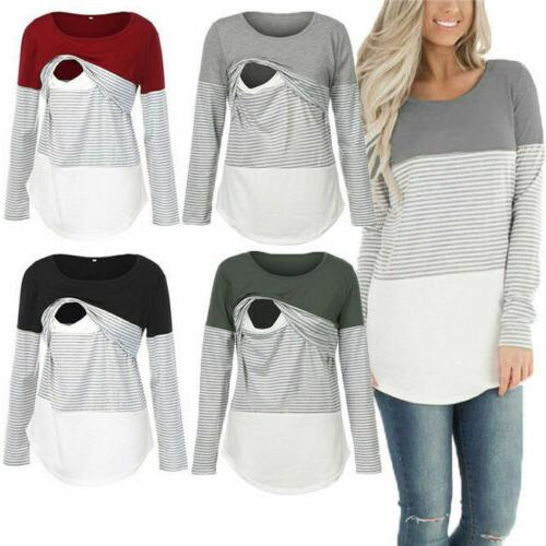 women long sleeve cotton maternity clothes breastfeeding