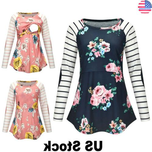 women maternity clothes breastfeeding floral print t