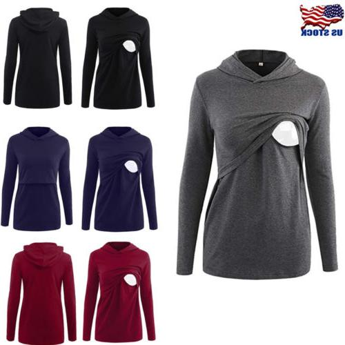 Women Maternity Clothes Breastfeeding Nursing Tops Hoodies L