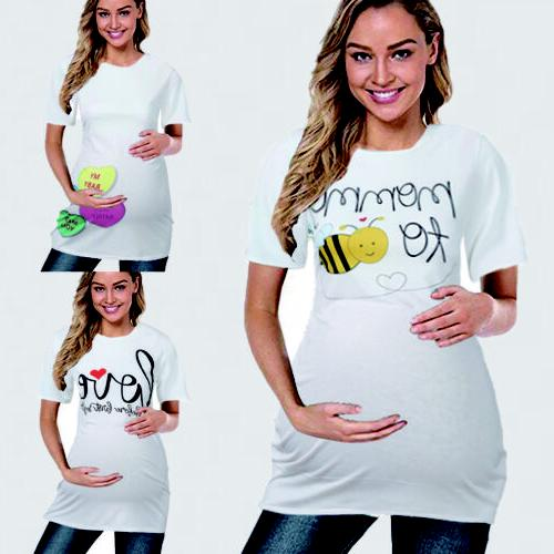Women Maternity Clothes Funny Print Pregnant Nursing Blouse