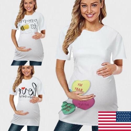 women maternity clothes funny print pregnant t