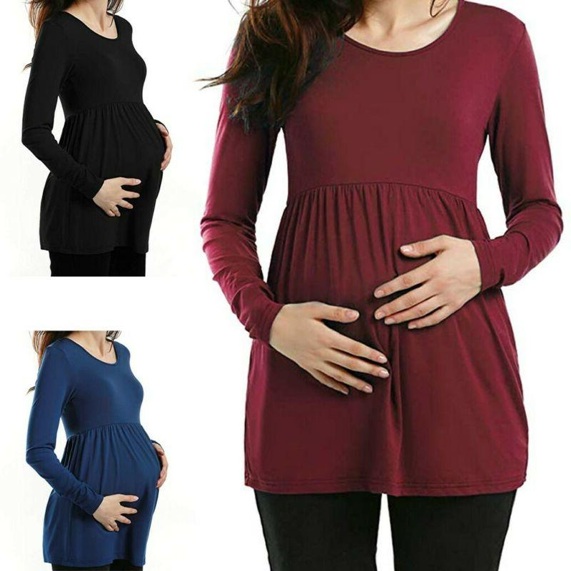 women maternity clothes long sleeve loose tops