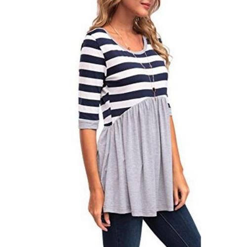Women Maternity Loose Striped Dress Women