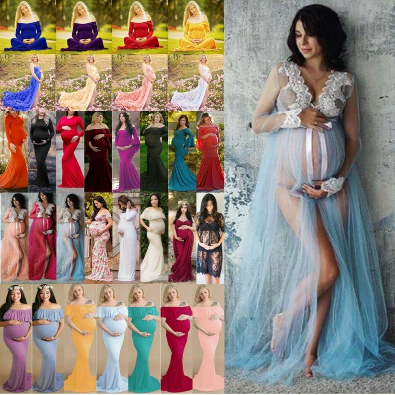Women Maternity Long Wedding Gown Pregnancy