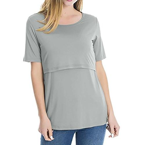 Dacawin Women's Tops Short Breastfeeding Clothes