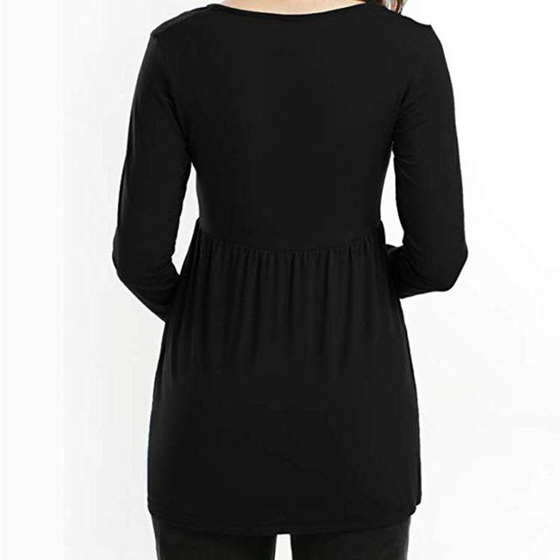 Women Long Solid Blouse Clothes Tee