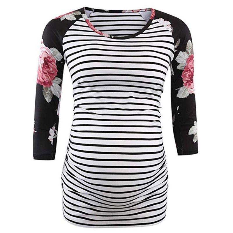 Women Mom Pregnant Clothes Spliced Ruched Tops Blouse