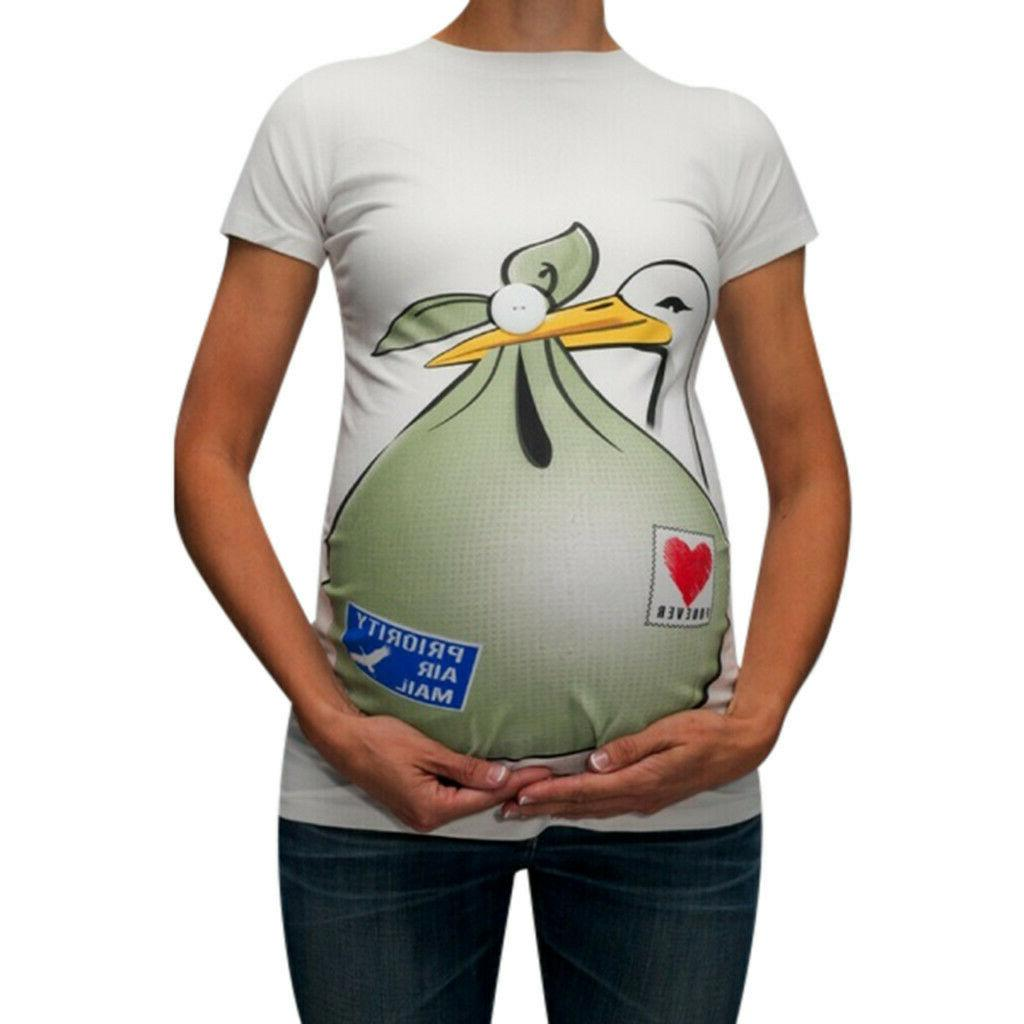 Women Pregnancy Maternity Cute Cartoon Tee Tops