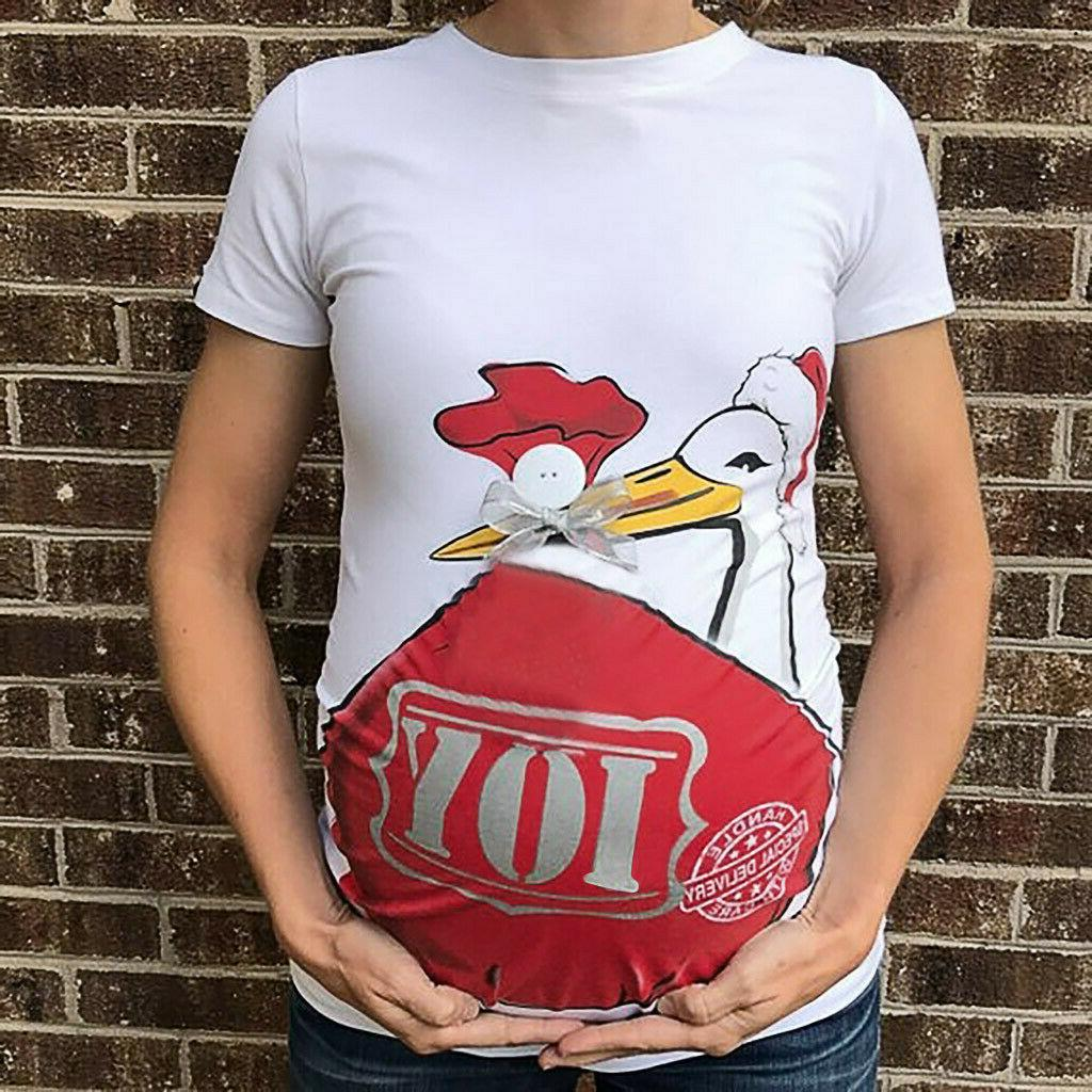 Women Pregnancy Cartoon Short Casual Tee