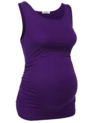 Hotouch Women Pregnancy Tee Scoop Neck Solid Maternity Side