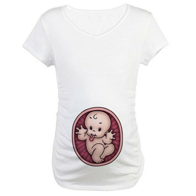 Women Pregnant Baby Short Sleeve Blouse