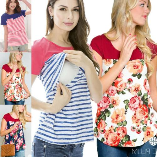 Women Pregnant Maternity Nursing Top Floral T-Shirt