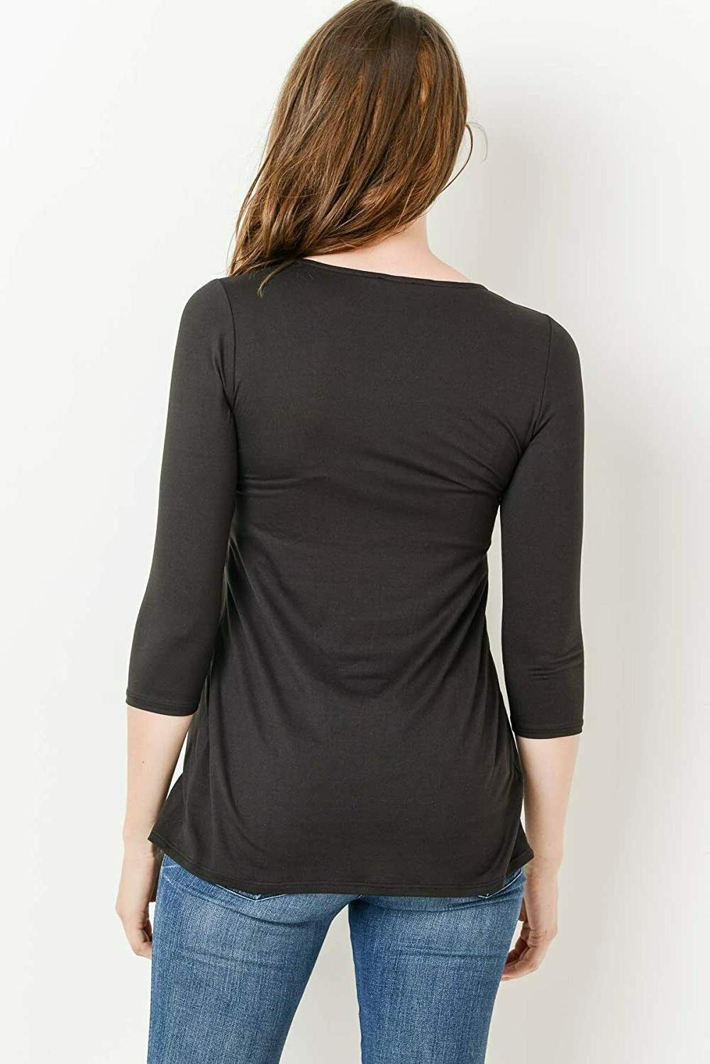 LaClef Women's Front Pleat Maternity Top,