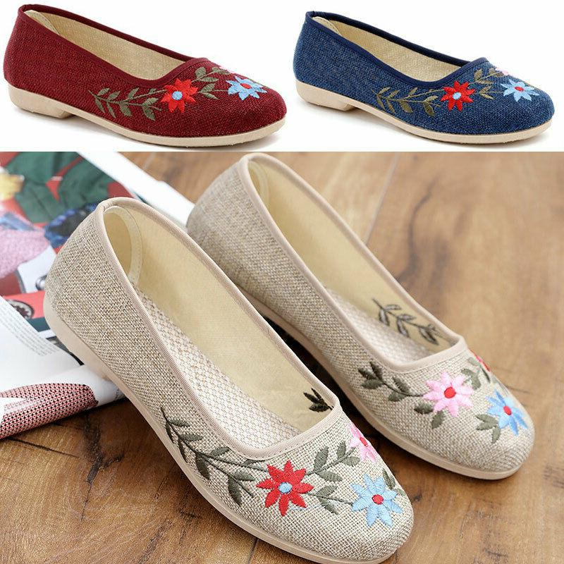 women s comfortable embroidered flat shoes maternity