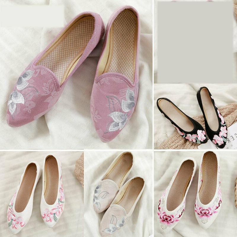 women s embroidered flats non slip pointed
