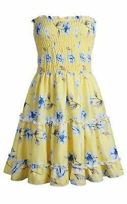 Angashion Women's Floral Strapless Pleated Flowy Tube Dress Yellow