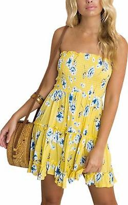 women s floral strapless pleated flowy skater