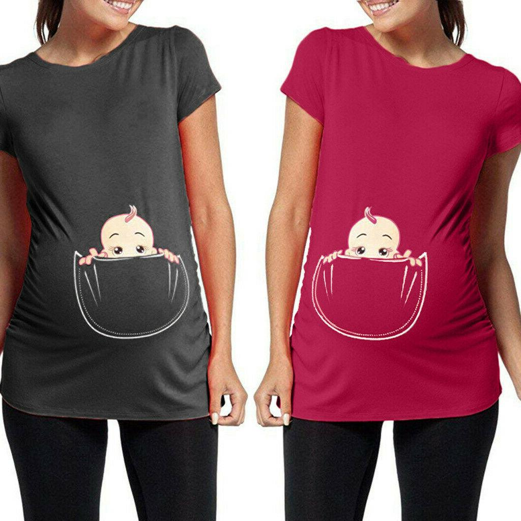 Women's Maternity Baby in Pocket Print Tee T-shirt Pregnancy Clothes
