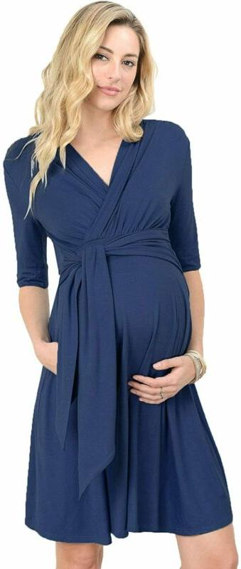 Laclef Women'S Maternity Wrap Dress With Tie Waist Belt