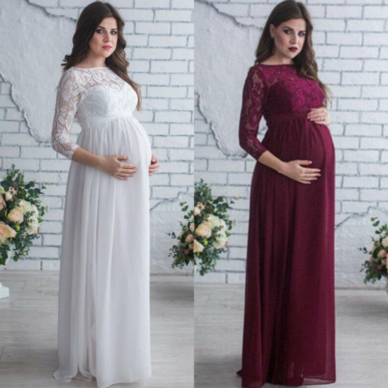 Pregnant Women Lace Maternity Maxi Dress Gown Photography Pr
