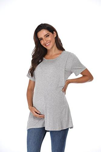 Giorzio Women's Short Maternity Crew Neck Flattering Sides Double M