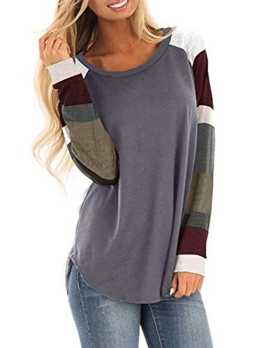 womens casual color block long sleeve pullover