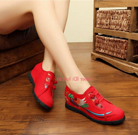 Womens Embroidered Floral Maternity Shoes Breathable