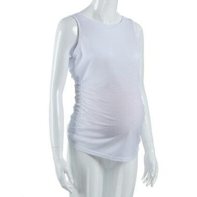 Womens Maternity Classic Side Ruched Pregnancy Clothes Tank Tops Blouse
