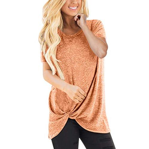 womens knot henley tops casual