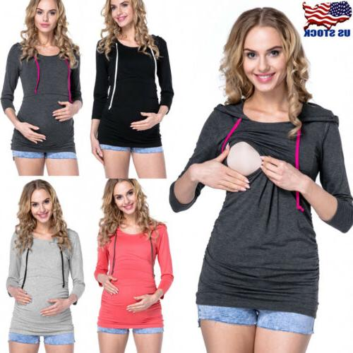 womens maternity clothes breastfeeding tops hoodie pregnancy