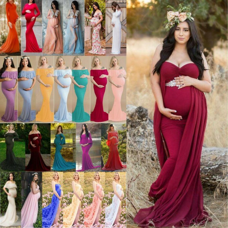 Womens Long Dress Gown Pregnancy Clothes