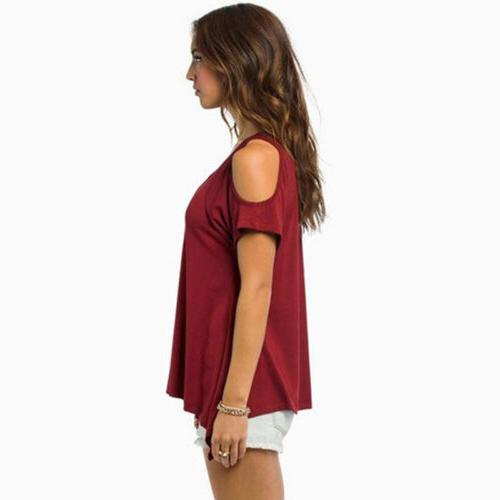 Womens Summer Shoulder Loose Blouse Casual New