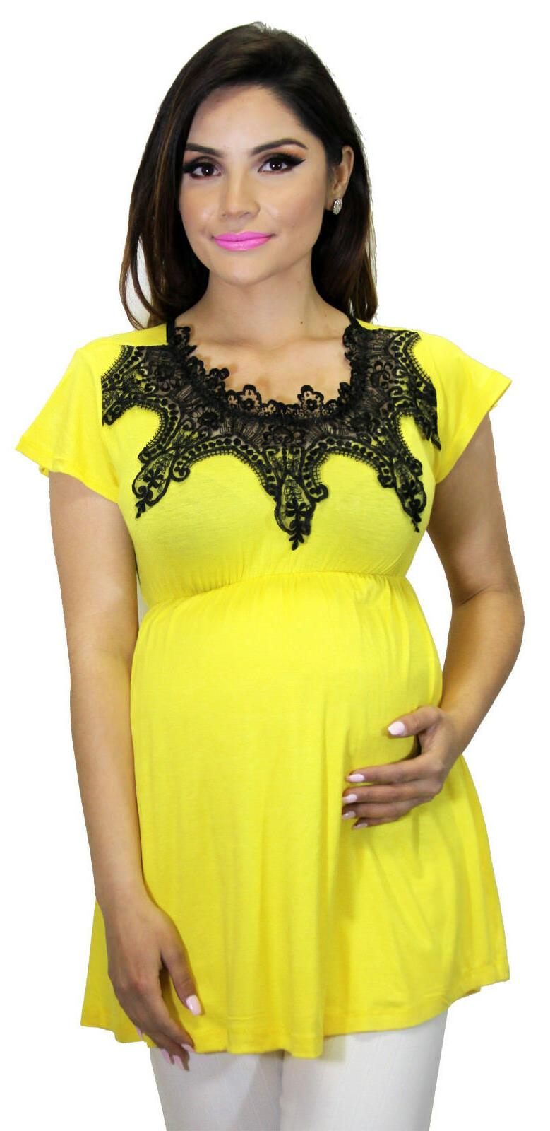 yellow solid maternity short sleeve top lace