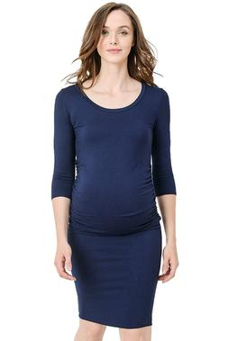 LaClef Women's Ruched Bodycon Maternity Dress - Made in USA