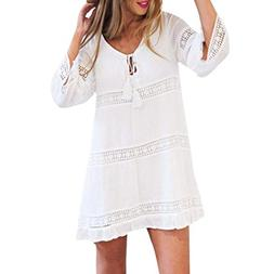 AmyDong Ladies Dress Women Summer V-Neck Dress Loose Lace Bo