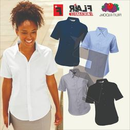 Fruit Of The Loom Lady-Fit Short Sleeve Oxford Shirt, 5-Colo