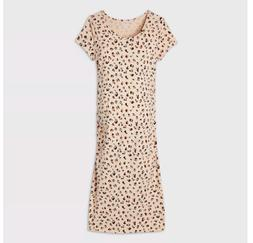 Leopard Print Short Sleeve T-Shirt Maternity Dress - Isabel