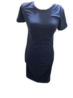 Liu & Qu Maternity Blue Dress Shortsleeve Bodycon Ruched Sid