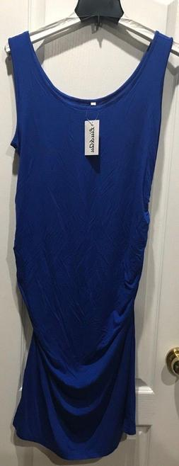 Liu & Qu Maternity Blue Dress Sleeveless Bodycon Ruched Side