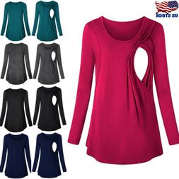 Long Sleeve Breast Feeding Nursing Tops Maternity Clothes Pr