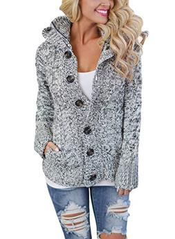 Sidefeel Women Long Sleeve Button Up Hooded Cardigan Knit Sw