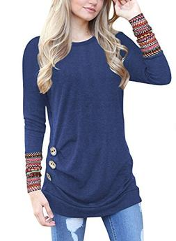 JomeDesign Women's Long Sleeve Casual T-Shirt Tunic Top Blou