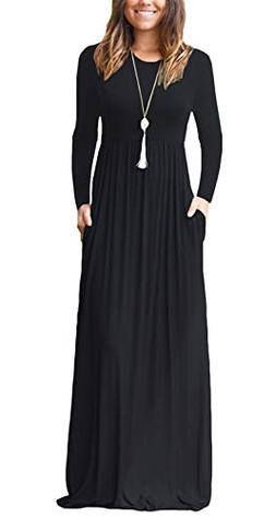 Fantastic Zone Women Long Sleeve Loose Plain Maxi Dresses Ca