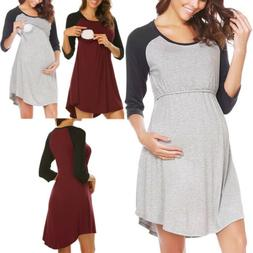 Long Sleeve Maternity Dresses Nursing Breastfeeding Dress Fo