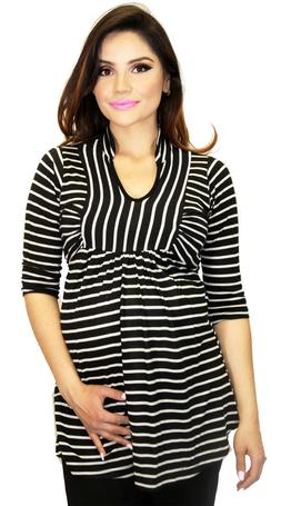 Long Sleeve Maternity Striped Black White Tie On Back Work A