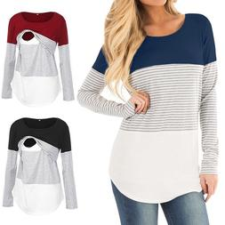 Long Sleeve Round Neck Cotton Maternity Clothes Breastfeedin