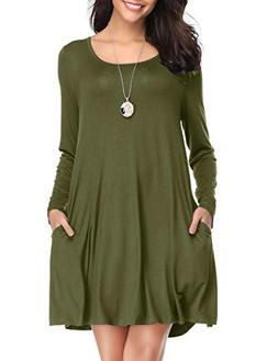 LARACE Women's Long Sleeve Swing Tunic Casual Pockets Loose