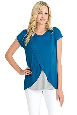 Hello Miz Maternity Asymmetrical Wrap Overlay Nursing Breast