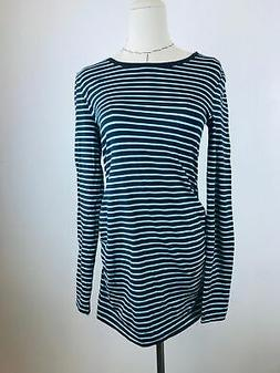 Gap Maternity Blue Striped Womens Round Neck Long Sleeve Top